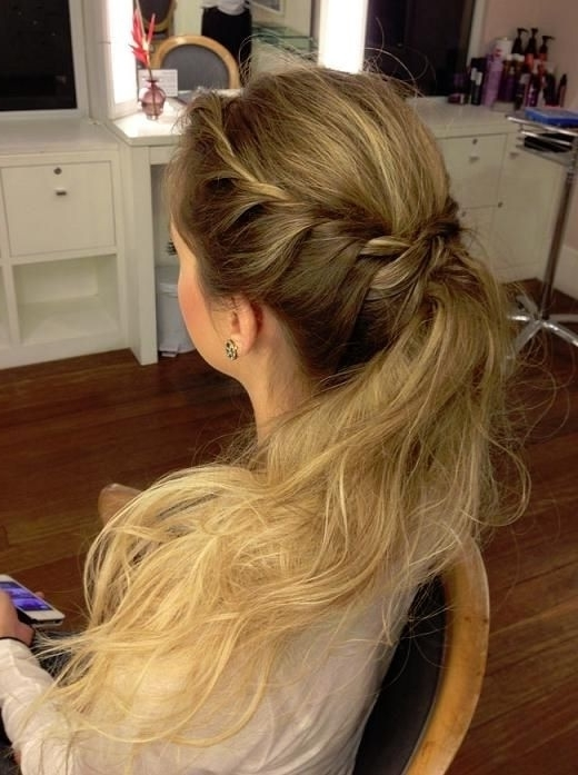 Hair Tutorial For Medium Hair Braid Ponytail Hairstyle For Prom Bhbsnd For Most Up To Date Ponytail Updo Hairstyles For Medium Hair (View 10 of 15)