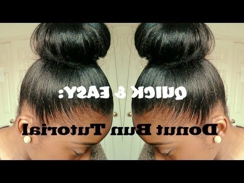 Hair Tutorial| High Bun For Relaxed Hair (Quick And Easy) – Youtube Throughout Latest Updo Hairstyles For Permed Hair (View 5 of 15)