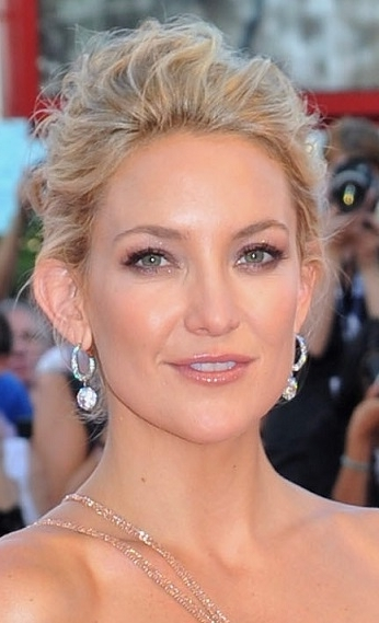 Hairstyles: Kate Hudson – Wispy Textured Updo | Sophisticated Allure Within Most Recently Wispy Updo Hairstyles (View 11 of 15)