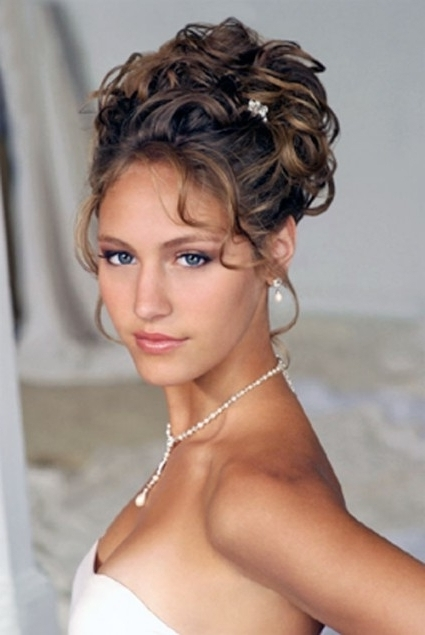 Hairstyles Updo Curly Updo Hairstyles For Medium Hair For Weddings Pertaining To Current Updo Hairstyles For Medium Curly Hair (View 8 of 15)