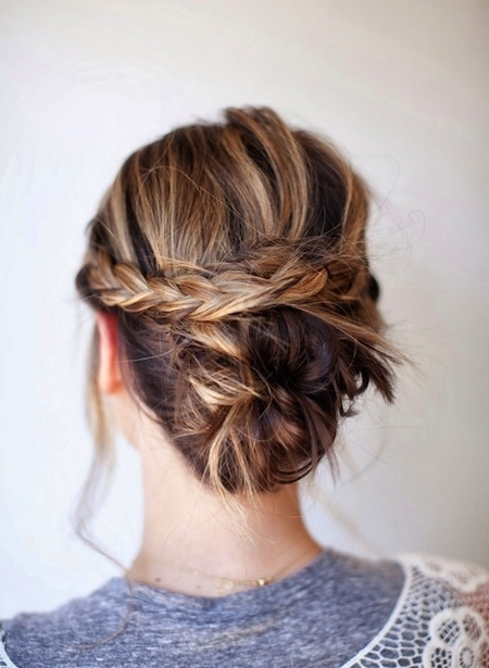 Half Braid Half Bun Updo – Medium Hair Homecoming Hair | Updo Intended For Most Recent Homecoming Updos Medium Hairstyles (View 8 of 15)
