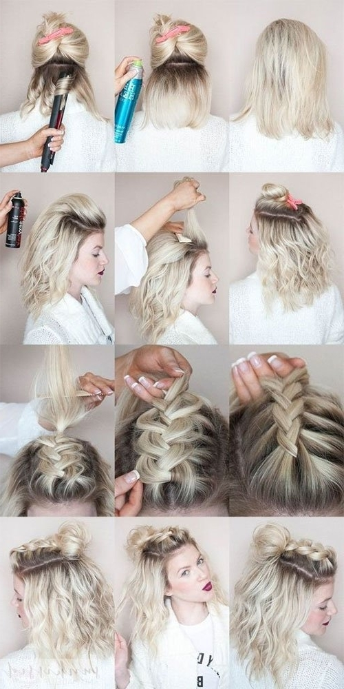 Half Up Hairstyle Tutorials For Short Hair, Hacks, Tutorials For Most Popular Half Updo Hairstyles For Short Hair (View 8 of 15)