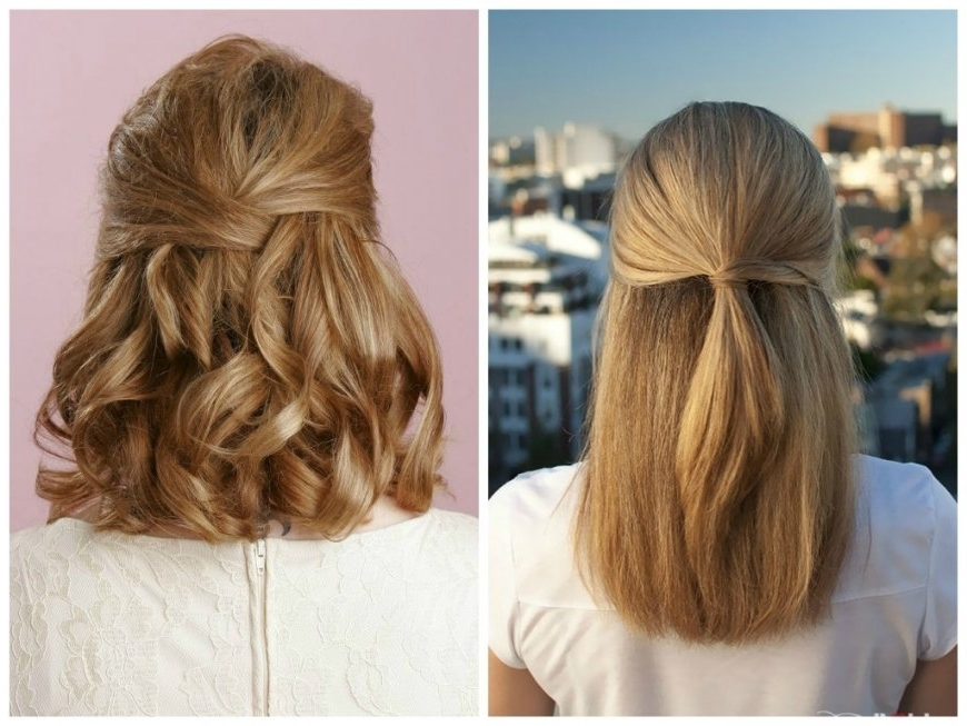 Half Up Half Down Hairstyle With Straight Hair – Hairstyles And With Most Current Straight Half Updo Hairstyles (View 7 of 15)