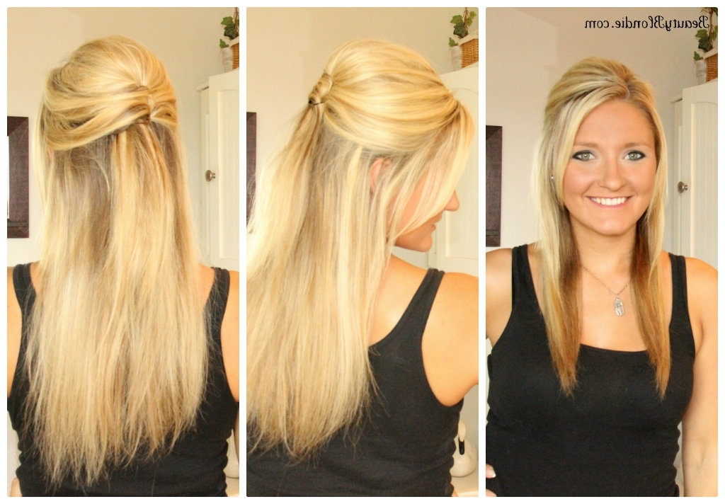 Half Up Half Down, Upside Down French Twist Hair Tutorial {With Video} In Best And Newest Straight Half Updo Hairstyles (View 9 of 15)