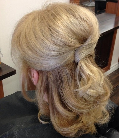 Half Up Half Down Wedding Hairstyles – 50 Stylish Ideas For Brides With Most Recent Half Hair Updos For Medium Length Hair (View 11 of 15)