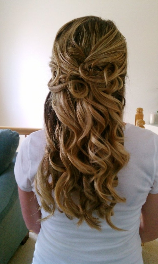 Half Up Half Down Wedding Hairstyles From The Back View | Elite Intended For Current Long Hair Half Updo Hairstyles (View 12 of 15)