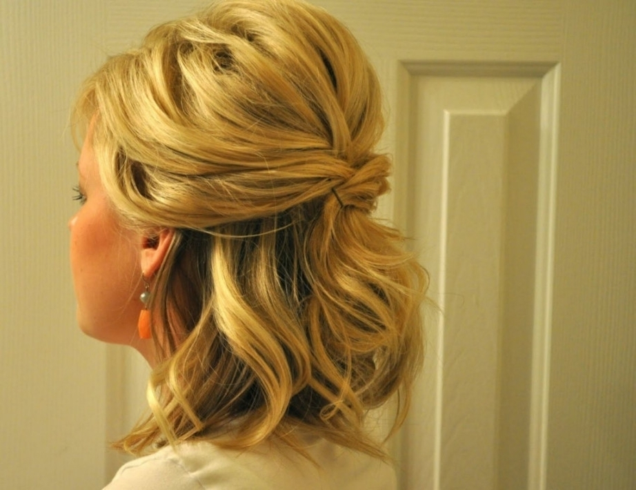 Half Updo Hairstyles For Medium Length Hair Hairstyles For Curly With Regard To Most Current Half Updos For Shoulder Length Hair (View 6 of 15)