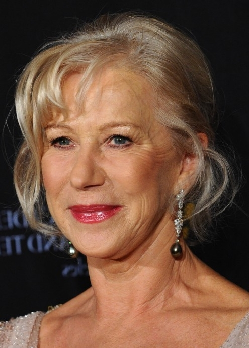 Helen Mirren French Twist Updo For Women Over 60 – Hairstyles Weekly Regarding Newest Updo Hairstyles For Older Women (View 7 of 15)