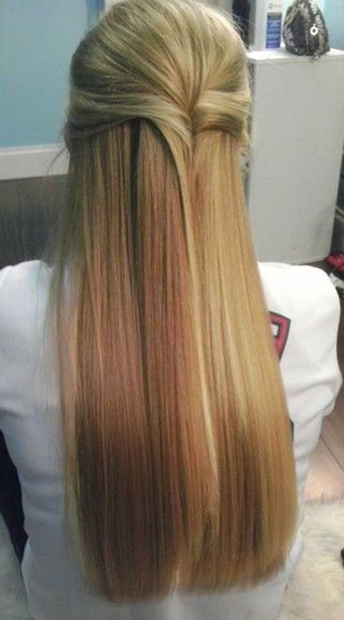 Displaying Gallery Of Straight Half Updo Hairstyles View 3 Of 15