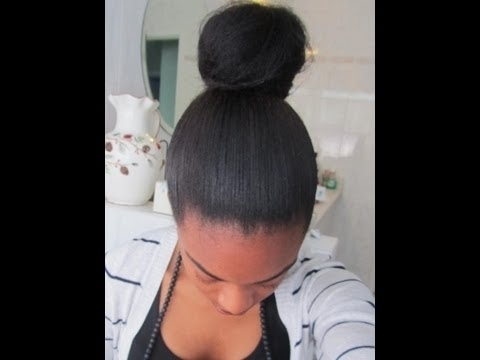High Messy Bun Apl Relaxed Hair – Youtube With Most Recent Updo Hairstyles For Permed Hair (View 12 of 15)