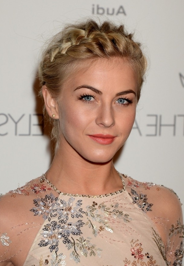 How To Diy Julianne Hough's Braided Crown Updo – Diy Hairstyles With Latest Julianne Ho Hairstylesugh Updo Hairstyles (View 9 of 15)