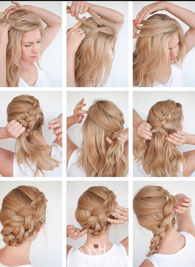 How To Make Twist Braid Updo Hairstyle Tutorial In Recent Easy Braid Updo Hairstyles (View 11 of 15)