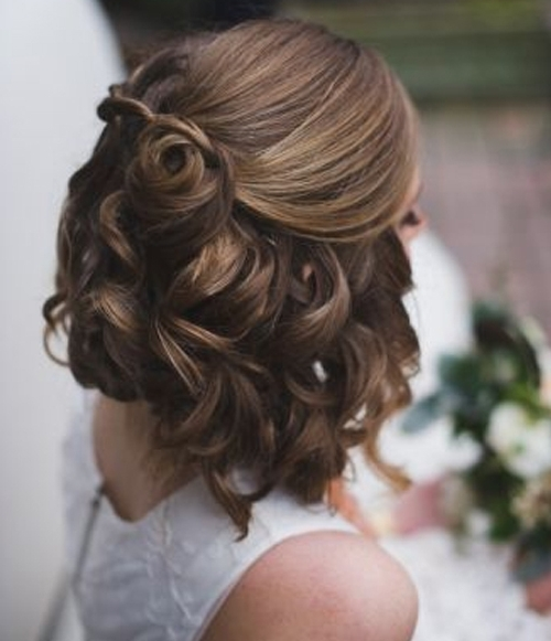 Jaw Dropping Half Updo Short Curly Wedding Hairstyles 2017 – 2018 With Most Recently Bridesmaid Hairstyles Updos For Short Hair (View 11 of 15)
