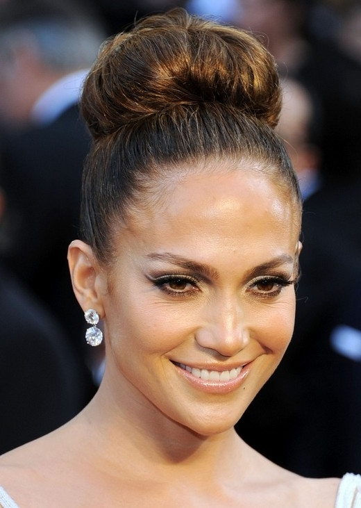 Jennifer Lopez Hairstyles: High Bun Updos - Popular Haircuts pertaining to Latest Updo Buns Hairstyles