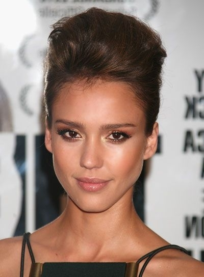 Jessica Alba | Updo, Teased Updo And Updos throughout 2018 Teased Updo Hairstyles