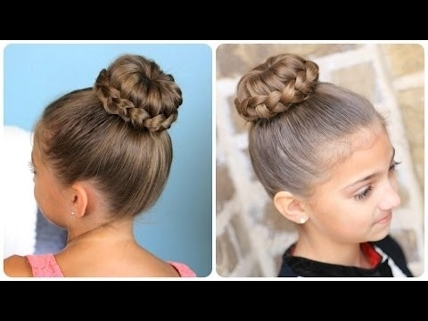 Lace Braided {Sophia Lucia} Bun | Updo Hairstyles – Youtube For Recent Easy Updo Hairstyles For Kids (View 12 of 15)