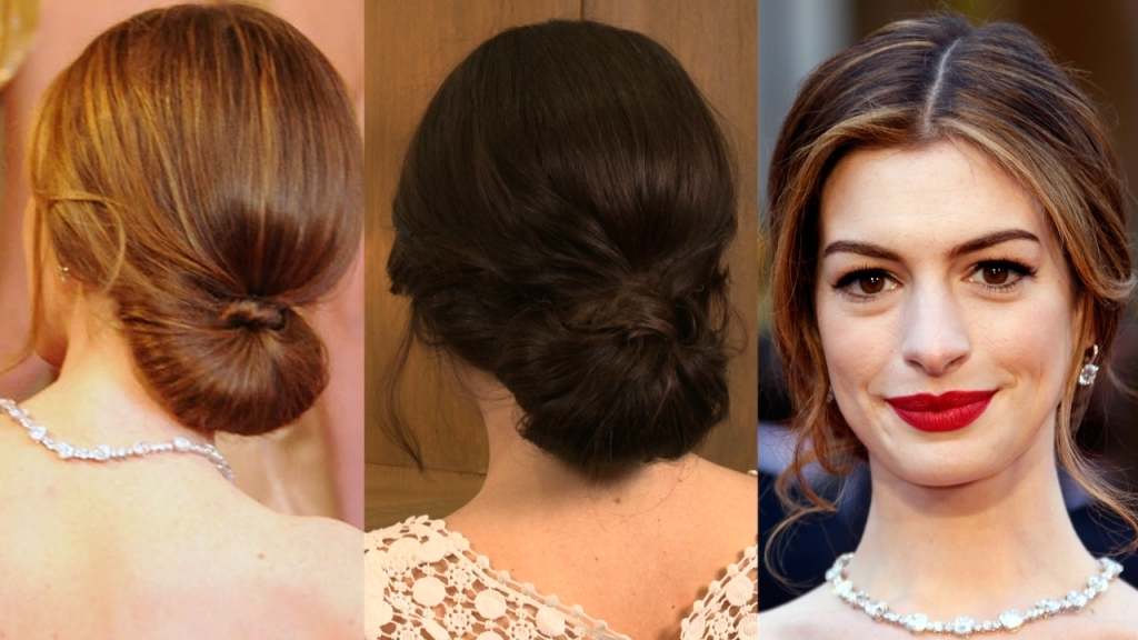 Low Bun Prom Hair Popsugar Hairstyles Buns And Anne Hathaway Throughout Most Recently Low Bun Updo Hairstyles (View 13 of 15)
