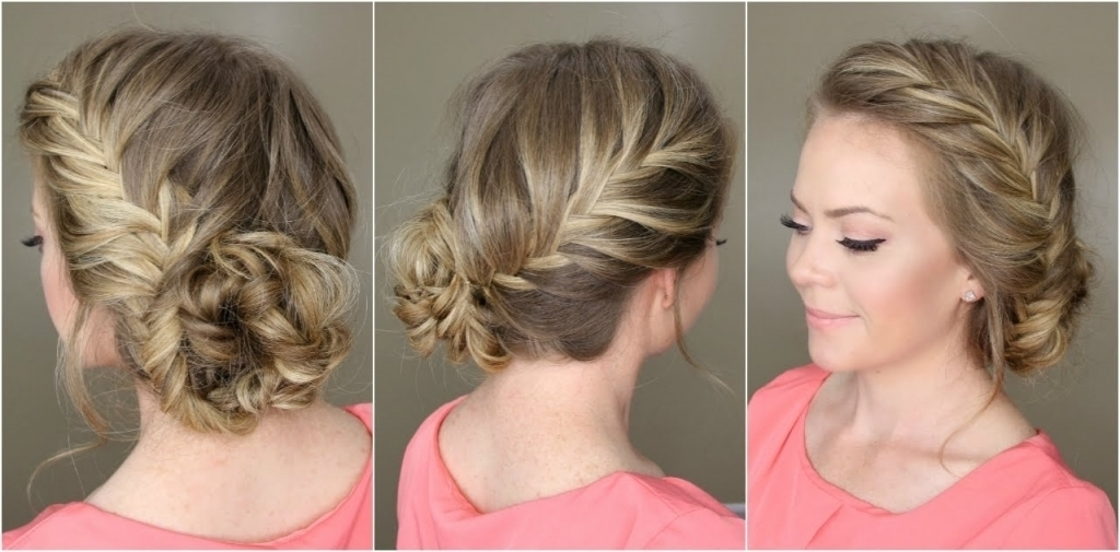 Low Curly Bun Updo Fishtail French Braid Braided Bun Youtube For Most Up To Date Curly Bun Updo Hairstyles (View 8 of 15)