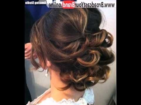 Low Loose Curly Updo For Medium Hair – Youtube Intended For Most Recent Loose Curly Updo Hairstyles (View 14 of 15)
