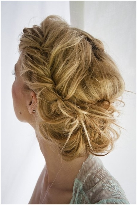 Messy Braid Updo For Long Hair: Prom Hairstyles – Popular Haircuts Within Recent Braid Updo Hairstyles For Long Hair (View 4 of 15)