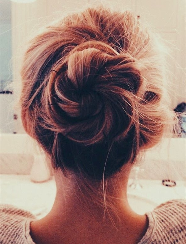 Messy Braided Bun Hair Idea~ Quick And Easy Messy Bun Hairstyle For Best And Newest Easy Elegant Updo Hairstyles For Thin Hair (View 10 of 15)