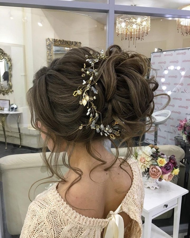 Messy Bridal Hair Updo With Hair Accessories | Messy Bridal Hair For Best And Newest Long Hair Updo Accessories (View 12 of 15)