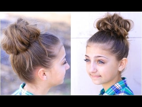Messy Bun #2 | Cute Girls Hairstyles – Youtube Intended For Most Recent Easy Updo Hairstyles For Kids (View 13 of 15)