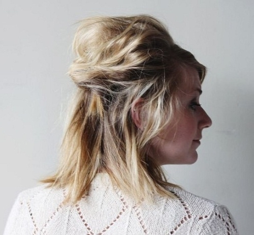 Messy Half Up Half Down Hairstyles For Short Hair Photos – New Intended For Most Popular Half Updo Hairstyles For Short Hair (View 10 of 15)