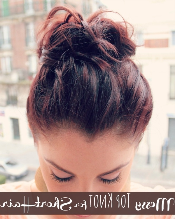 Messy Top Knot For Short Hair – Ma Nouvelle Mode Regarding Recent Updos For Fine Short Hair (View 11 of 15)