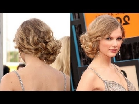 Messy Updo Hairstyles: How To Do Taylor Swift's Messy Side Swept For Recent Side Updo Hairstyles (View 9 of 15)
