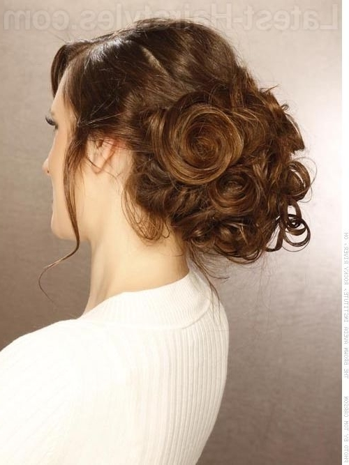 Messy Updo Tousled Brunette Updo With Loose Curls With Long Tendrils With Latest Loose Updos For Long Hair (View 12 of 15)