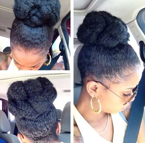 Natural Hair Queens | Protective Styles | Pinterest | Natural Regarding Most Recently Updo Hairstyles For Natural Hair With Weave (View 14 of 15)