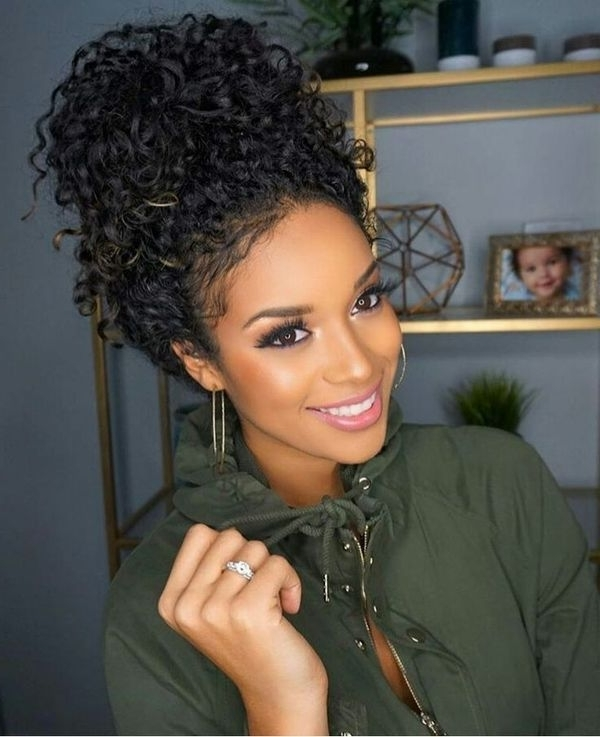 Natural Hair Updos, Best Natural African American Hairstyles Regarding Most Recent Curly Updo Hairstyles For Black Hair (View 10 of 15)