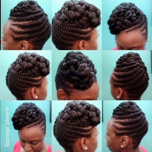 Natural Two Strand Twist Updo With Extension Hair Included | Beauty throughout Recent Flat Twist Updo Hairstyles With Extensions