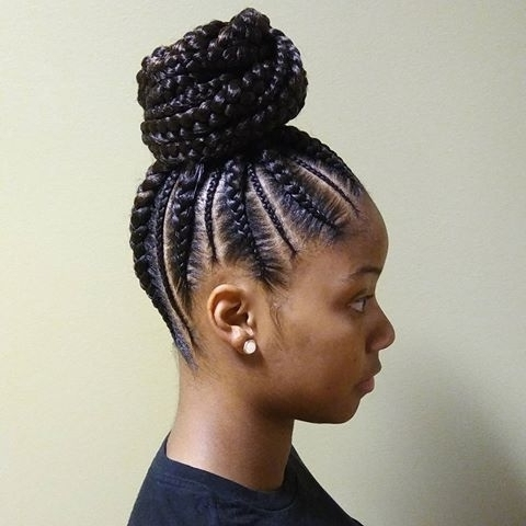 New Cornrow Ponytail Hairstyles Intended For Current Updo Cornrow Hairstyles (View 11 of 15)