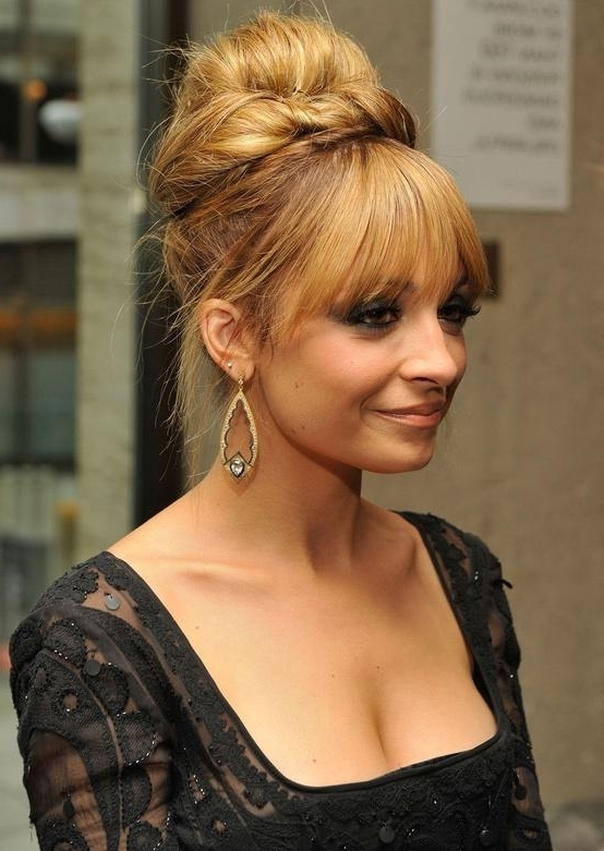 Nicole Richie Long #hair Updo With A Fringe – Long Hairstyles How To Within Current Updos For Long Hair With Bangs (View 11 of 15)