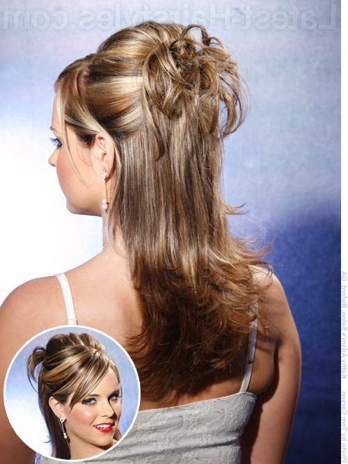 Partial Updo And Down Hairdo For Center Parted Hair | Hairstyle Ideas Intended For Most Popular Partial Updo Hairstyles For Long Hair (View 13 of 15)