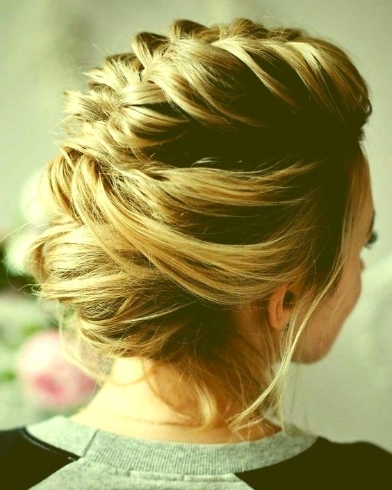 Prom Hairstyles For Short Hair Braid Loose Updo Hairstyles Prom In Most Current Updo Hairstyles For Short Hair Prom (View 12 of 15)