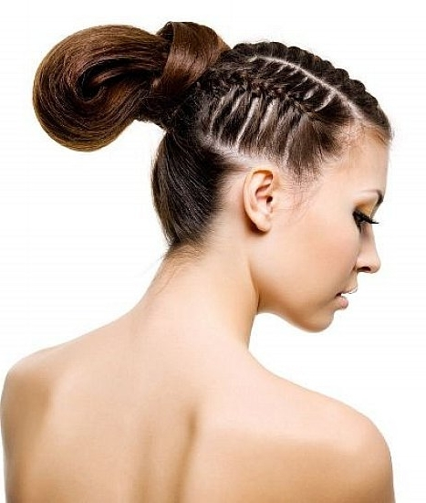 Prom Updo Hairstyles With Cute Bun And Braids For Long Straight Hair In Newest Cool Updo Hairstyles (View 11 of 15)