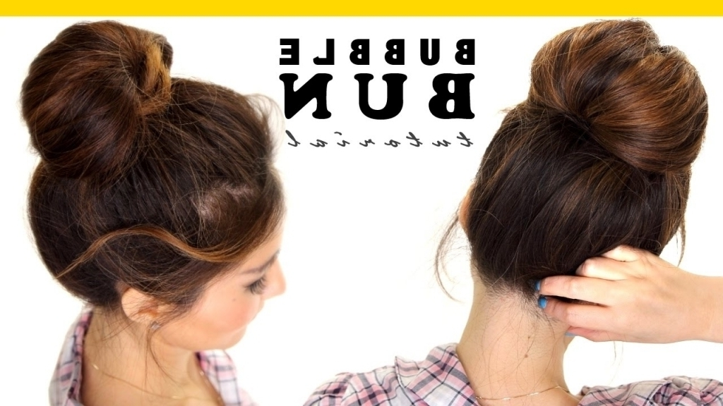 Quick Easy Updo Hairstyles For Long Hair 2 Minute Bubble Bun With Regard To Best And Newest Fast Updos For Long Hair (Gallery 10 of 15)