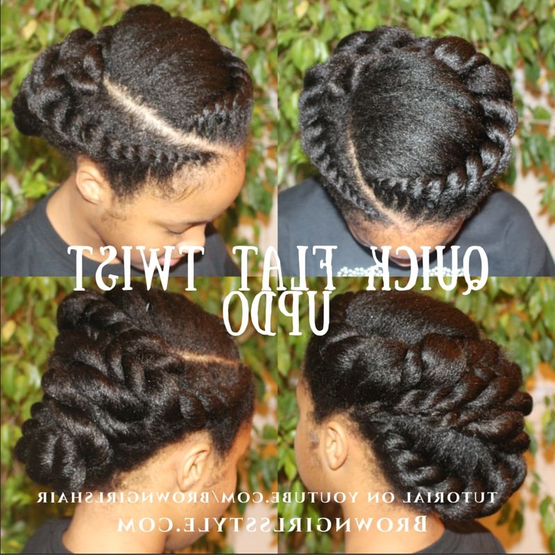 Quick Flat Twist Updo Natural Hair Tutorial | Brown Girls Style Intended For Most Popular Quick Twist Updo Hairstyles (View 11 of 15)