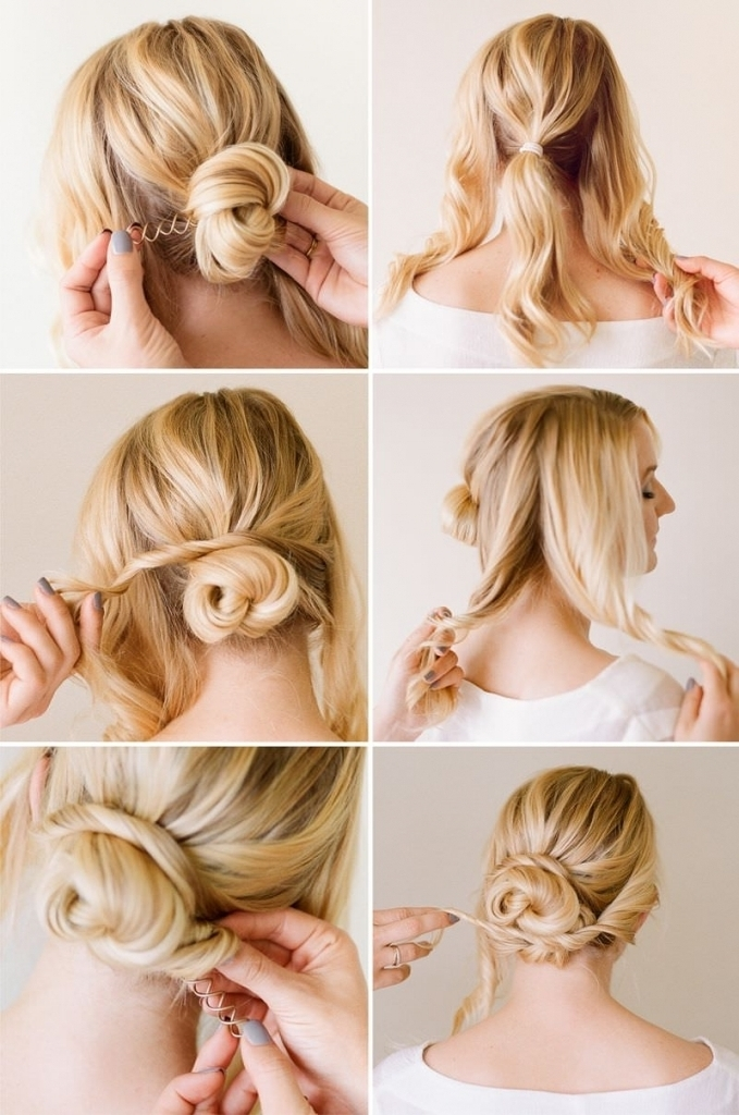 Quick Updo Hairstyles For Short Hair How To Do Bun Hairstyles For Pertaining To Most Recent Quick Easy Short Updo Hairstyles (Gallery 13 of 15)