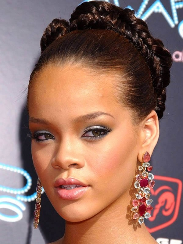 Rihanna Braided Bun Updo Hairstyles | Blackhairmedia For Most Current Updo Hairstyles With Braiding Hair (View 14 of 15)