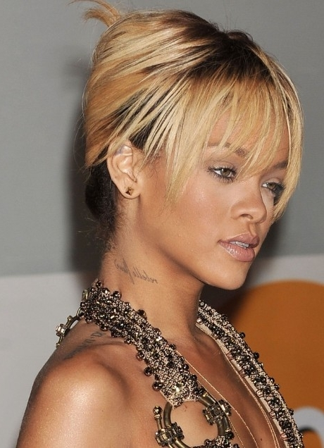 Rihanna French Twist Updo Hairstyle With Wispy Bangs – Hairstyles Weekly Regarding 2018 Wispy Updo Hairstyles (View 13 of 15)