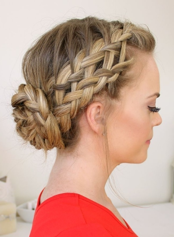 Romantic Braided Hairstyles For Long Hair And Medium Hair Throughout Latest Updo Braid Hairstyles (View 13 of 15)