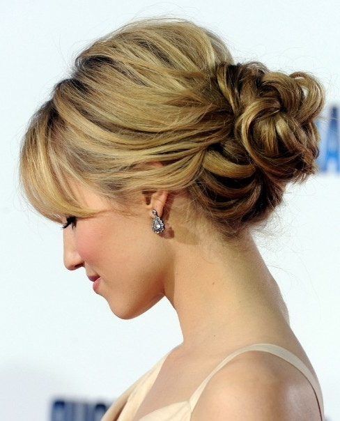 Romantic Loose Low Bun Updo For Wedding From Dianna Agron Pertaining To Recent Updo Low Bun Hairstyles (View 14 of 15)