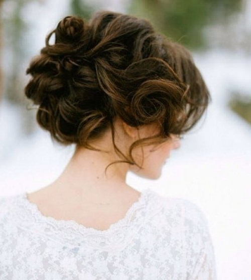 Romantic Messy Prom Updo Hairstyle 2015 For Curly Hair | Wedding In Most Recent Messy Updo Hairstyles For Prom (View 15 of 15)
