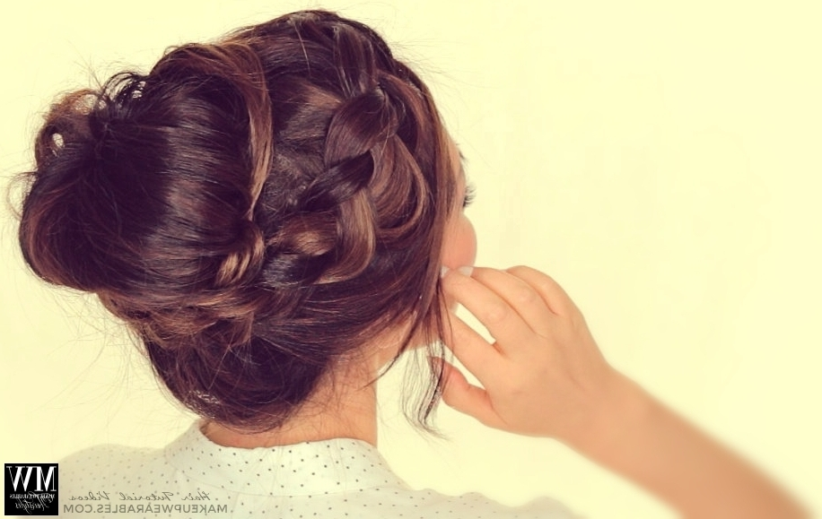 Second Day Hairstyles | How To Chubby Braid Wrapped Messy Bun Tutorial Intended For Most Up To Date Cute Bun Updo Hairstyles (View 10 of 15)
