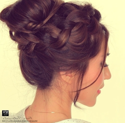 Second Day Hairstyles | How To Chubby Braid Wrapped Messy Bun Tutorial Regarding Most Popular Messy Bun Updo Hairstyles (View 6 of 15)