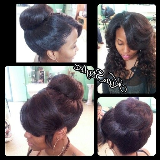 Sew In And Curls Same Sew In In A Bun | Kiastylez Styles In Recent Sew In Updo Hairstyles (View 12 of 15)